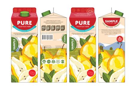 Pear Juice Karton Karton Opakowanie Projekt