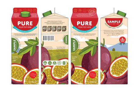 pasion: Passion Fruit Juice cart�n Caja de cart�n paquete de dise�o Vectores