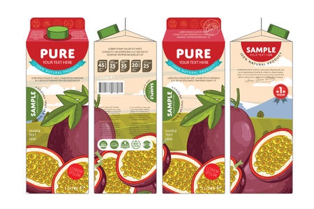 passion: Passion Fruit Juice Carton Cardboard Box Pack Design
