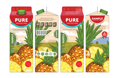 pineapple juice: Pineapple Juice Carton Cardboard Box Pack Design