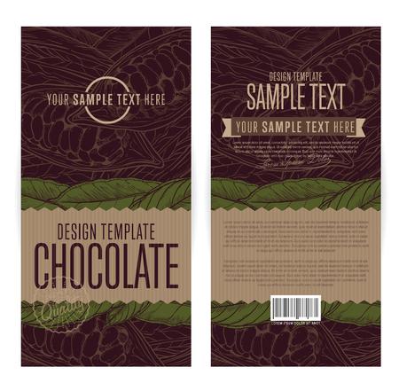 envases de chocolate ilustración plantilla de diseño vectorial.