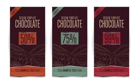 envases de chocolate ilustración plantilla de diseño vectorial. Ilustración de vector