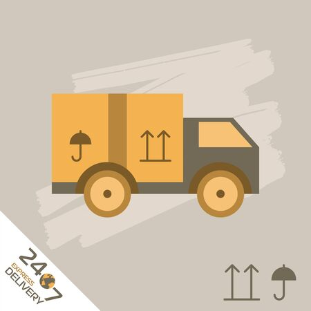 trucking: Express Delivery Raster Truck. Elements of Trucking . Fast Shipping Service Van. Icon Delivery raster. Express Delivery of Goods. Delivery Service, Cargo Delivery. Stock Photo