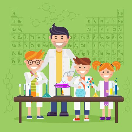 children studying: Chemistry laboratory, chemistry equipment. Stock Photo