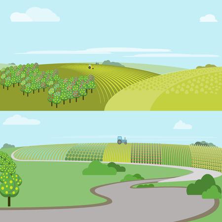 absract: Absract farm field, green landscape raster illustration.