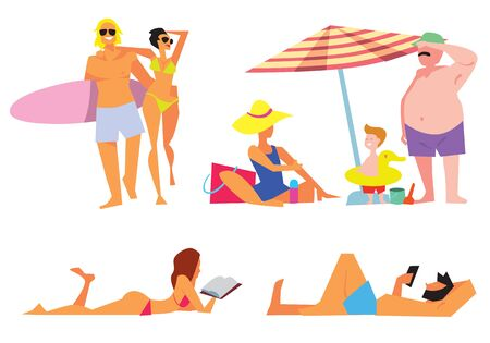 young people party: People on beach vector isolated. Sexy girl on beach. Illustration