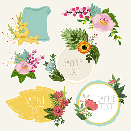 retro flowers: Flowers isolated collection. Vector flowers and floral. Vintage and retro flowers and floral elements. Illustration