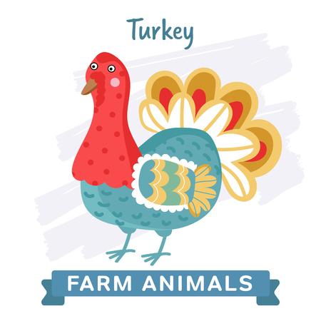 raster illustration: Turkey isolated, raster illustration. Stock Photo