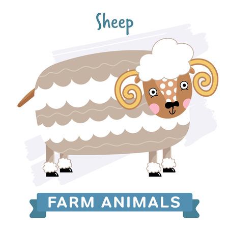 raster illustration: Sheep isolated, raster illustration.