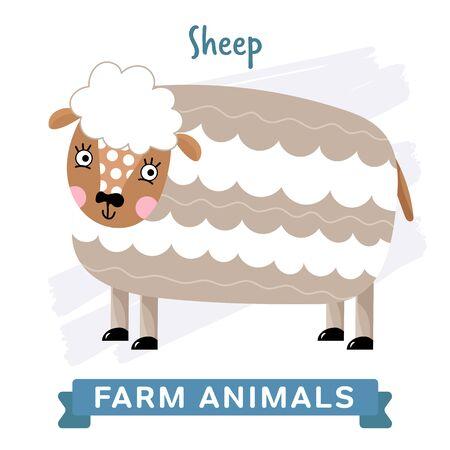 raster: Sheep isolated, raster illustration.