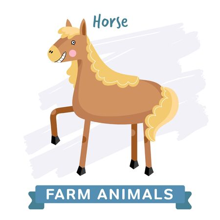raster: Horse isolated, raster illustration.