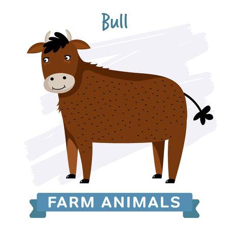 raster illustration: Bull isolated, raster illustration.