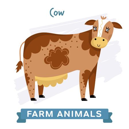 raster illustration: Cow isolated, raster illustration. Stock Photo