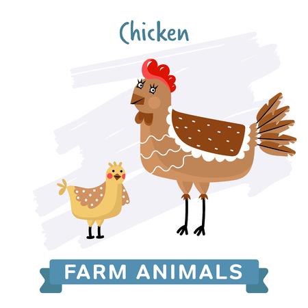 raster illustration: Chicken isolated, raster illustration.