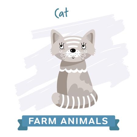 raster illustration: Cat isolated, raster illustration.
