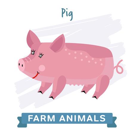raster: Pig isolated, raster illustration. Stock Photo