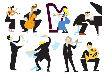 Music orchestra people, isolated on white background. Stock Illustratie