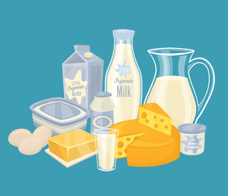 dairy products: Dairy products isolated, vector illustration. Illustration