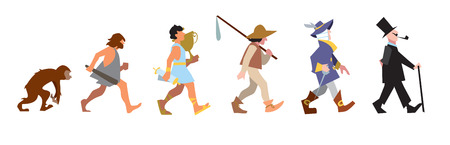 Evolution people stage, vector illustration. Different isolated people on white bakcground.