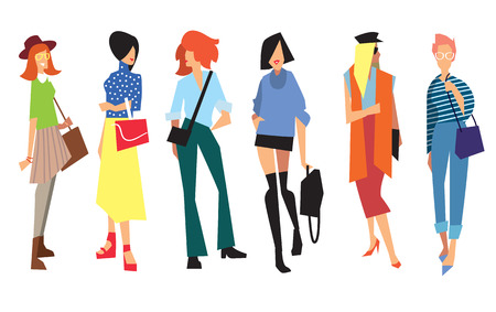 nude woman: Beautiful young women in fashion clothing. Isolated vector lady on white background.