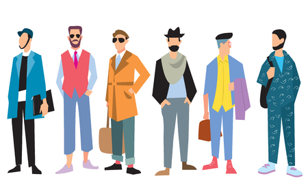 nude fashion model: Beautiful young mens in fashion clothing. Isolated vector boy on white background. Illustration