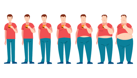 fatter: Man eating fast food and getting fatter. a fat phase. Do not dieting. Junk food. Malnutrition.