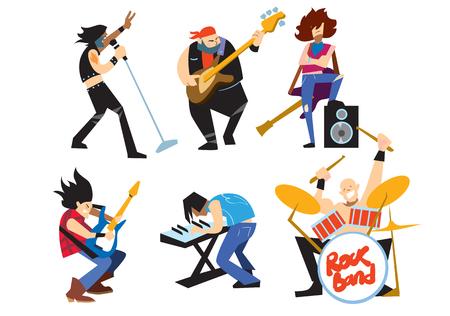 concierto de rock: grupo de músicos de rock aislado sobre fondo blanco.
