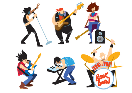 concert performance: Musicians rock group isolated on white background.