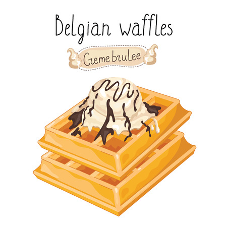 belgian waffle: Belgian waffles with ice cream on white background, vector illustration.
