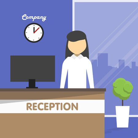 secretary office: Secretary stands behind a reception in front of the computer in the office. Illustration