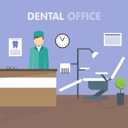 dental chair: Dentist at his workplace. The dental chair. On the wall hang the clock. Dental Clinic. Vector illustration in a flat style.