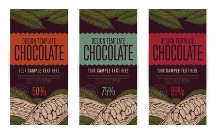 チョコレートのパッケージ デザイン テンプレート ベクトル イラスト。チョコレートの抽象的なブランドです。