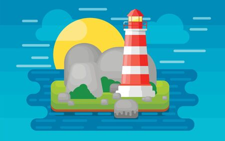 sand asia: Lighthouse on the island in the sea, vector illustration in flat style.