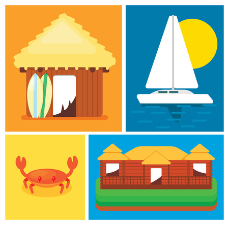 green crab: Elements of the concept leisure on island. House, sailing boat, crab, cottage. Vector illustration in a flat style.