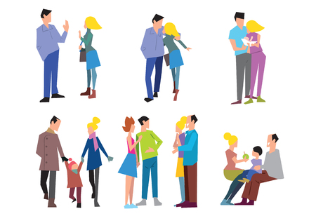 childbirth: Stages of family formation. The first date, pregnancy, childbirth, grandchildren, old age. Vector illustration in a flat style.