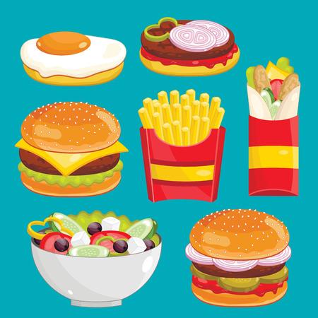 egg roll: Fast food menu set. Hamburger, cheesburger, french fries, greek salad, roll and egg. Vector illustration.