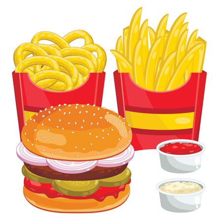 estableció menú de comida rápida. Hamburguesa, aros de cebolla, patatas fritas abd salsa de tomate. Ilustración del vector.