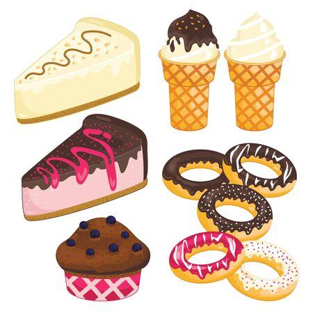 cake slice: Sweet dessert set. Cake slice, ice cream, donut vector isolated on white background.