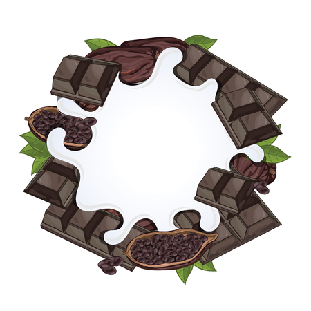 cacao: Yogurt splash isolated on chocolate and cacao. Milk splash.
