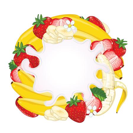 yogurt: Yogurt splash isolated on strawberry and banana. Milk splash. Illustration