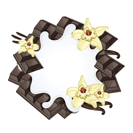 Joghurt splash isoliert auf Schokolade und Vanille. Milchspritzen. Vektorgrafik