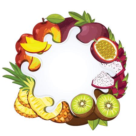 tropical fruit: Yogurt splash isolated on tropical fruit. Milk splash.