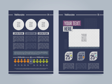 corporate brochure: Business brochure template, back and front side, vector illustration