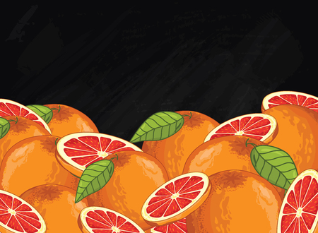 grapefruit: Grapefruit on chalkboard background. Grapefruit composition, plants and leaves. Organic food. Summer fruit. Fruit background for packaging design. Illustration