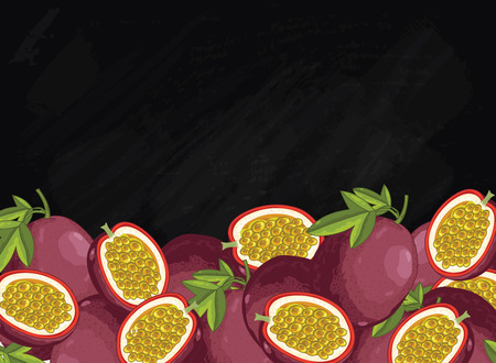 passion fruit: Passion fruit on chalkboard background. Passion fruit composition, plants and leaves. Organic food. Summer fruit. Fruit background for packaging design.