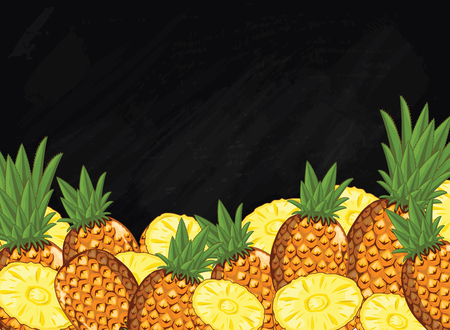 natural food: Pineapple on chalkboard background. Pineapple composition, plants and leaves. Organic food. Summer fruit. Fruit background for packaging design.