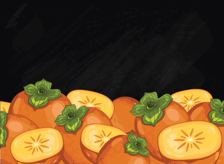 persimmon: Persimmon on chalkboard background. Persimmon composition, plants and leaves. Organic food. Summer fruit. Fruit background for packaging design.