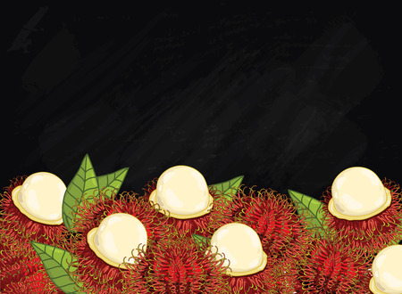 natural health: Rambutan on chalkboard background. Rambutan composition, plants and leaves. Organic food. Summer fruit. Fruit background for packaging design.
