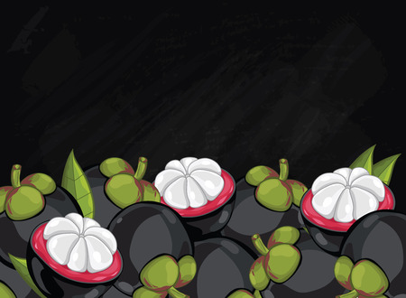 mangosteen: Mangosteen on chalkboard background. Mangosteen composition, plants and leaves. Organic food. Summer fruit. Fruit background for packaging design.