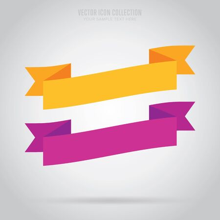ribbon: Ribbon isolated vector in flat design style. Colorful abstract ribbon.